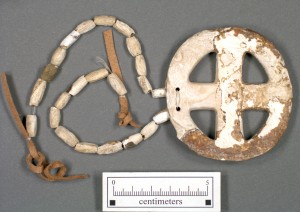 Shell gorget and beads recovered at Town Creek.