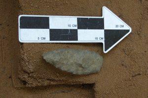 Chipped stone knife, in-situ