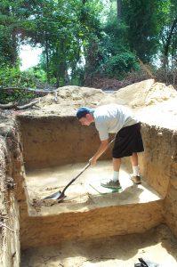 Student digging
