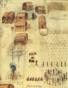 """Watercolor drawing """"Indian Village of Secoton"""" by John White (created 1585-1586) <a href=""""http://www.britishmuseum.org/research/collection_online/search.aspx?people=103070&peoA=103070-2-23"""">© Trustees of the British Museum</a>"""