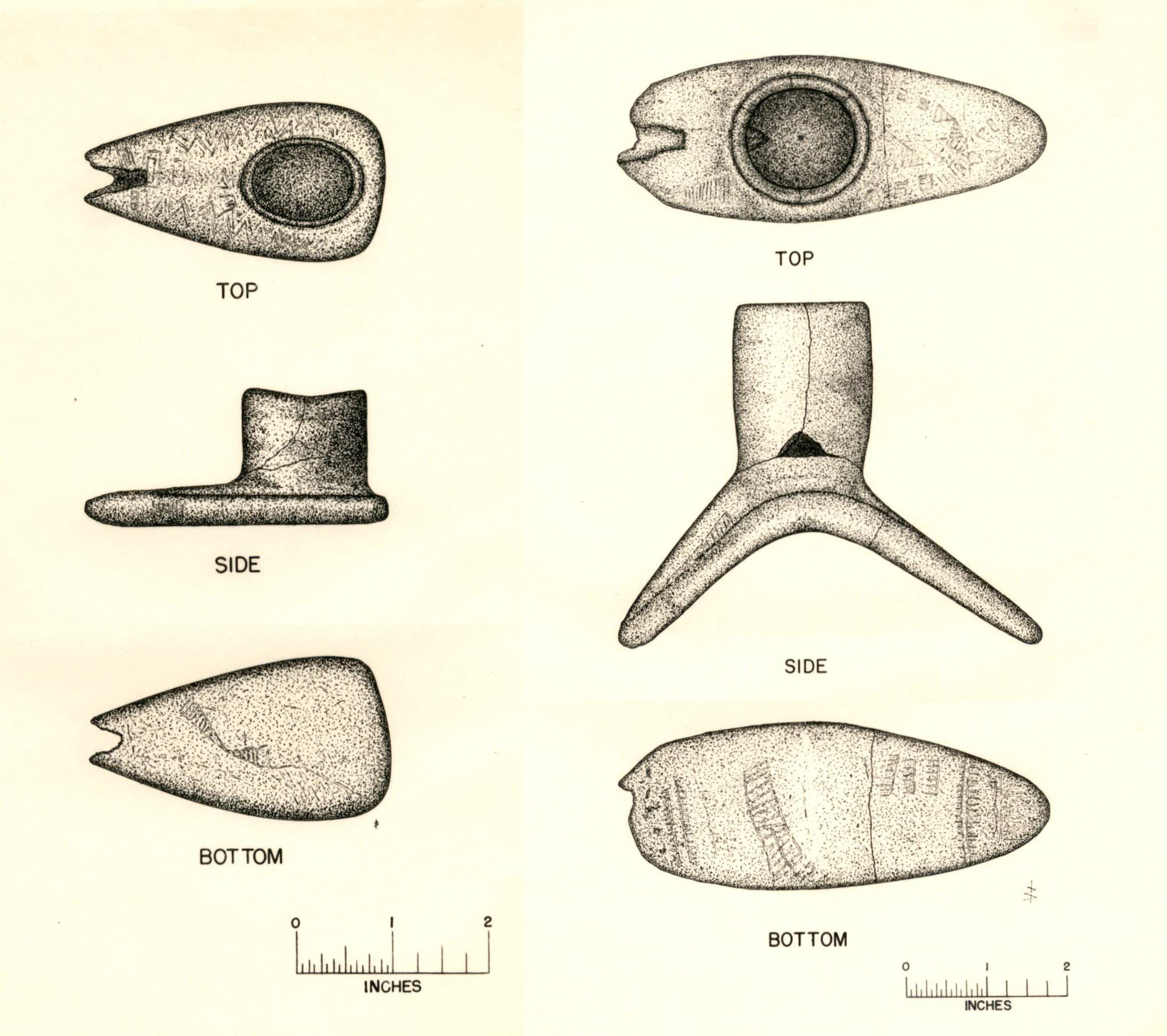 Stone pipes from the McLean Mound.