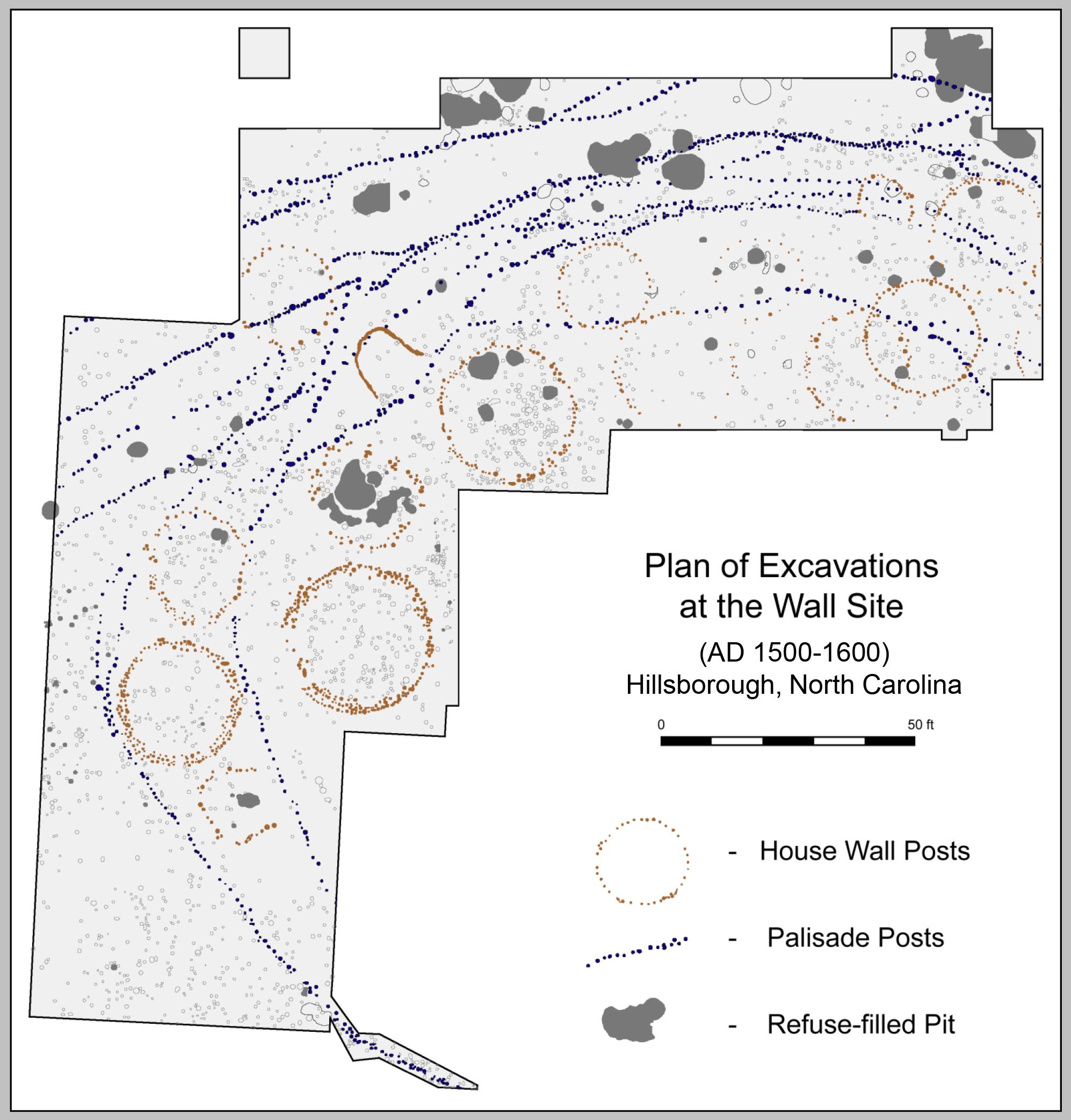 Plan of excavations at the Wall site, 1938-2002.